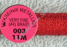Kreinik Braid #4 003 Red Metallic Thread Very Fine 11M Cross Stitch