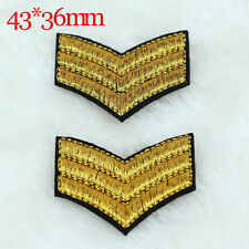 4PC Gold badge design Embroidery Iron on Patches Sew Appliques Embroidered Motif