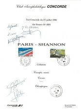CONCORDE AIR FRANCE DOCUMENT INEDIT VOL SPECIAL SHANNON 15JUL 1986 SIGNE PAR PEQ