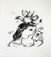 RARE CHAGALL SIGNED ARTIST PROOF LITHOGRAPH LA POÉTESSE 1972 ICONIC IMAGE