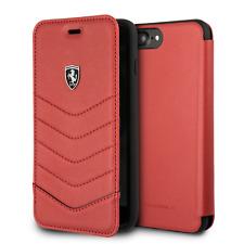 Ferrari Tipo Libro Funda Piel Auténtica IPHONE 8 Plus IPHONE 7 Plus Rojo