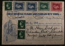 1946 Amsterdam Holland First Official Flight cover FFC to New York USA KLM