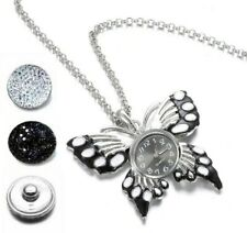 Black White Enamel Butterfly Interchangeable Necklace Watch Set 3 18mm Snaps