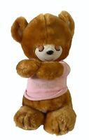 Vtg 1981 KNICKERBOCKER Prayer Bear Pink Shirt Baby Teddy Plush Stuffed Animal