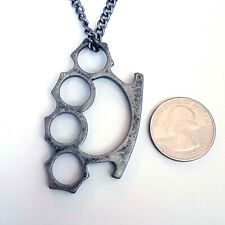 Gothic Horror 70s 80s Heavy Metal Punk Rockabilly Brass Knuckle Pendant Necklace