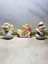 Enesco Christmas Holiday Bear Figurine 3 Lot