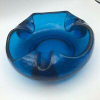"7"" Blue Viking Crackle Glass Cigar Ashtray Rolled Edge Mid Century Vtg Rare K6"