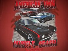 """""""AMERICAN IRON"""" Muscle Car T-Shirt Large NEW w/Tags - 1969 Camaro, 1969 Mustang"""
