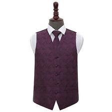 DQT Woven Floral Paisley Purple Mens Wedding Waistcoat & Tie Set