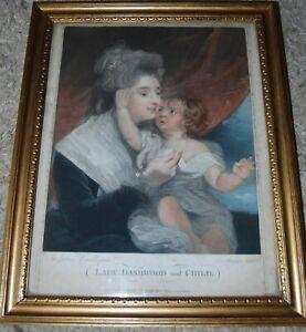 "18th/C Coloured Engraving Portrait ""Lady Dashwood & Child"" by Joshua Reynolds"