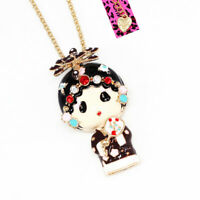 Betsey Johnson Enamel Crystal Peking Opera Doll Pendant Sweater Chain Necklace