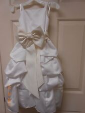 New David's Bridal white size 3 flower girl dress satin & 2 bow belts BEAUTIFUL