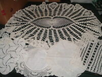 6 Vtg 40s Mixed Lot Hand Crochet Doilies 1 Large 5 Small Round Cotton White PB14