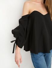 Pixie Market S Black The Shoulder Balloon Sleeve Blouse