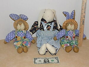 Mixed Lot 3- Plush Easter Bunny Rabbit Stuffed Sitting