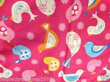 "BIRDS PINK & TEAL & YELLOW BIRD PRINT COTTON FABRIC 54"" x 44"" wide"