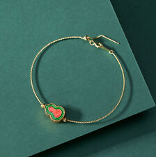 F02 Bangle Gilded Silver 925 Green and Red Cloisonne Adornment