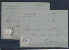 España. Dos Cartas circuladas desde Barcelona a Genova con sello de Alfonso XII