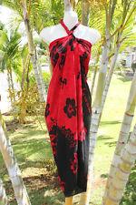 Sarong Red Black Hibiscus Hawaii Hawaiian Pareo Cruise Beach Pool Wrap Dress