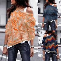 Women Long Sleeve Floral Print Long Shirt Tops One Shoulder Jumper Blouse Tops