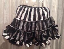 Women's Halloween Striped Black White Puffy Skirt Tutu Sparkles Small/Medium