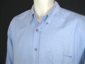 PENDLETON Mens Large 100% Cotton Long Sleeve Shirt White/ Blue Plaid Euc!