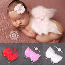 Baby Elastic Costume Feather Angel Wings Flower Headband Lace Photo Props
