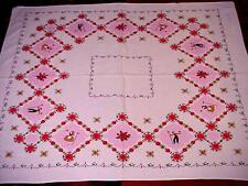 Vintage 50's Cottage Tablecloth HEARTS & Flowers LOVERS Valentine's Day CHARMING