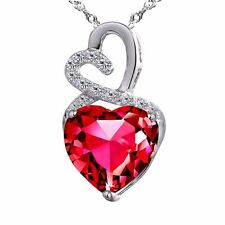 Mabella 4.0cttw Heart Shaped 10mm Created Ruby Pendant in Sterling Silver With 1