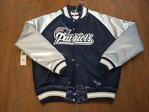 NWT New England Patriots Mitchell & Ness NFL Tough Seasons Satin Jacket- Sz L