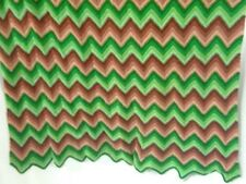 vintage hand crocheted green/brown zig-zag stripes acrylic 3.75 ft. x 4 ft.