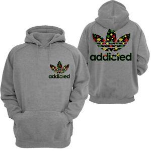🔥 Addicted Marijuana leaf Rasta Hoodie Funny Weed Parody 420 THC cannabis F&B