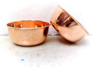 2 Pcs Indian 100% Copper Dish Serving Bowl Katori Dessert Bowls From India