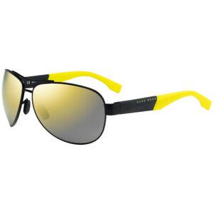 Hugo Boss 0915/S 1Y3 C4  Matte Black Gold Mirror Polarized Sunglasses 0915