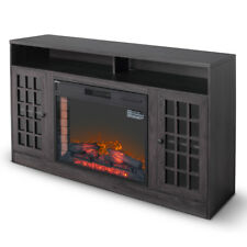 """59"""" Corner Media Infrared Electric Fireplace Heater with Mantel, Grey Finish"""