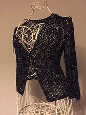Karen Millen Special OccasionBlack Hand Beaded crocheted Cardigan/top Size 8/10