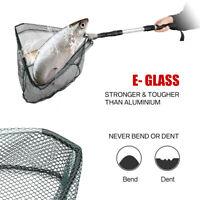 1.3M Folding Handle Fishing Landing Net 3 Section Extending Pole Aluminum Handle