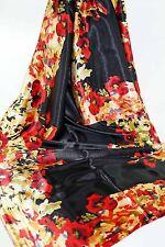 Damen Schal Tuch Seide Satin floral Print Schwarz rot gold NEU