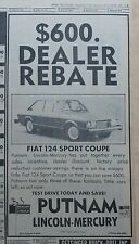 1975 newspaper ad for Fiat 124 Sport Coupe - Rebate, Test Drive today