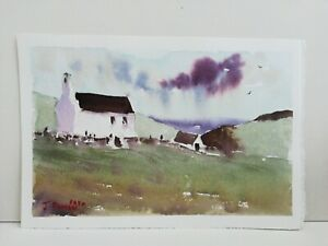 White House by sea art Original watercolour painting 72