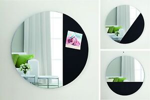 Round Mirror - Magnetic Pad with Mirror 45cm - Home Decor Gift BLACK / WHITE NEW