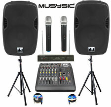"""Complete Professional 2000W PA System 6-CH Mixer 12"""" Speakers Wireless Mics"""