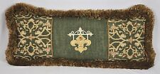 Embroidered Pillow made w Ralph Lauren Rutherford Rug & Green Tapestry Fabric