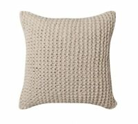 KAI NATURAL Chunky Hand Knitted Linen Square Filled Cushion by LOGAN AND MASON