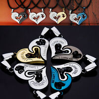 Fashion Couples Stainless Steel Love Heart Chain Black Leather Pendant Necklace