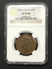 Straits Settlement 1 Cent (1874H) Victoria NGC XF 45 BN
