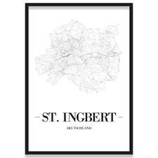 JUNIWORDS Stadtposter, St. Ingbert, Weiß, Kunstdruck Plan Map