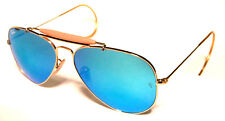 RAY BAN 3030 58 OUTDOORSMAN GOLD ORO PERSONALIZZATO BLUE MIRROR SPECCHIATO REMIX