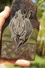 Hand-Carved etch & paint on stone Zimbabwe AFRICAN  Rhino by  Gift  #131