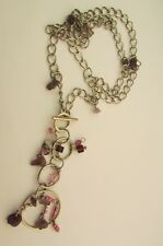 """A SILVER CHAIN WITH AMETHYST NUGGETS & BEADS NECKLACE.   (21"""" + 3"""")"""